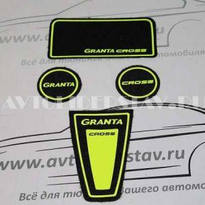 Коврики панели приборов ворс с цветными надписями GRANTA CROSS (цвет салатовый флюоресцентный)
